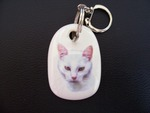 White Short Hair Cat Keyring