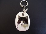 Black and White Cat Keyring